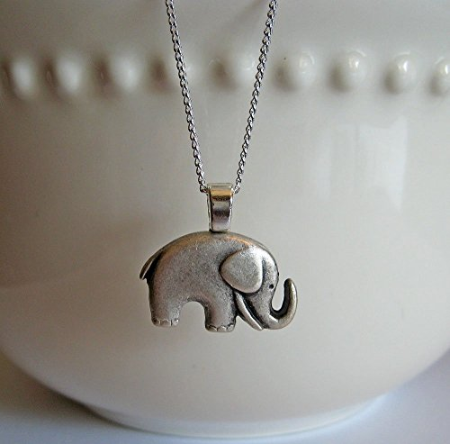 Elephant Necklace Antiqued Silver, Elephant Gifts, Button Jewelry