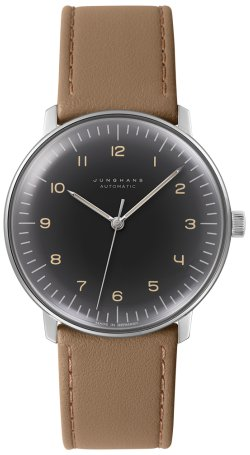 Junghans Max Bill Automatic Mens Watch - 38mm Analog Grey Face Classic Watch with Luminous Hands - Stainless Steel Brown Leather Band Luxury Watch for Men Made in Germany 027/3401.00 (Max Bill Watch)