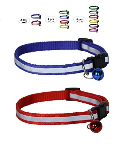 Reflective Cat Collar with Bell for Pets (Cats, Dogs, Small Animals) - Durable Polyester - Set of 2 by Prime Pet