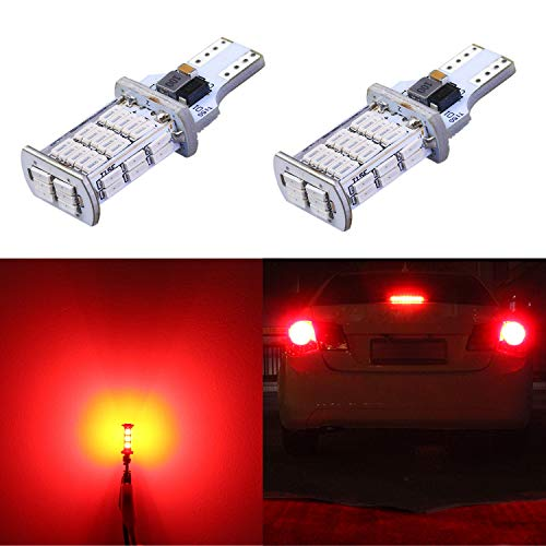 Alla Lighting 2600lm CANBUS 912 921 LED 3rd Brake Stop Light Bulbs Xtreme Super Bright LED 921 Bulb High Power 4014 48-SMD T15 906 912 921 LED Bulbs Center High-Mounted Stop Light, Pure Red (Set of 2)