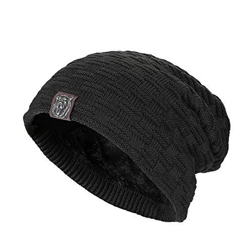 Kungber Black Slouchy Beanie for Men Women Winter Warm Stretch Knit Ski Skull Hats Cap