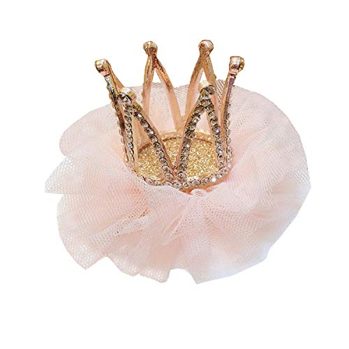 (Girl's Diamond Crown Hair Pin Princess Flower Hair Clips Rhinestone Crystal Tiara Kids Party Hair Accessory)