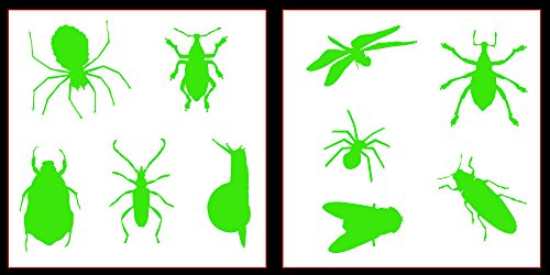 Auto Vynamics - STICKERPACK-INSECTS-10-GLGRN - Gloss Lime Green Vinyl Detailed Bugs & Insects Sticker Pack - Everything From Spiders to Roaches to Dragon Flies! - 10-by-10-inch Sheets - (2) Piece Kit - Themed Set ()