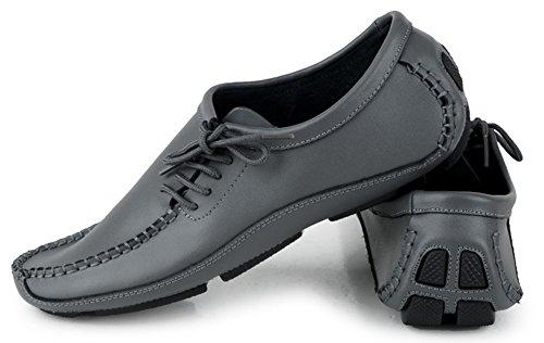 Aisun Trendy Herenlederen Loafers Heren Grijs