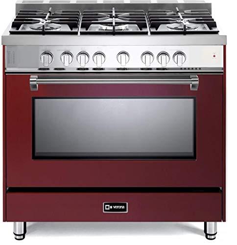 (Verona Prestige Series VPFSGG365BU 36 inch All Gas Range Convection Oven 5 Sealed Burners Storage Drawer Burgundy)