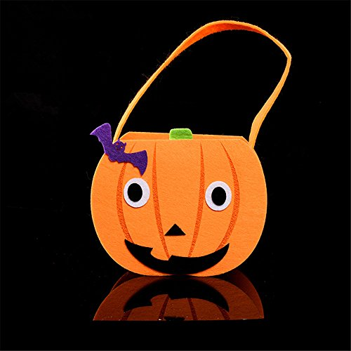 CHOP MALL®Happy Halloween Décor Goody Orange Pumpkin Bag Basket Bucket Treat or Trick Hand Bag Festival Party (Paper Mache Pumpkin Costume)