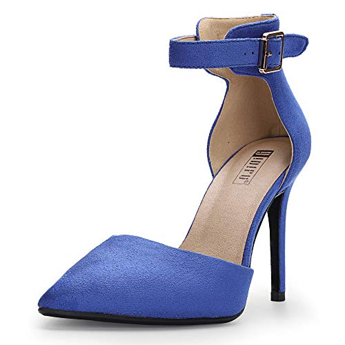 IDIFU Women's IN5 D'Orsay Dress Closed Pointed Toe Ankle Strap Pump Buckle High Heels Stiletto Party Shoes (6 M US, Royal Blue Suede)