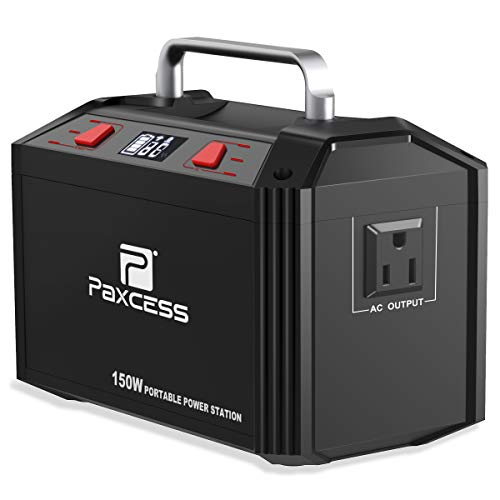 PAXCESS 178Wh 48000mAh Portable Generator CPAP Battery Pack for Camping, 150W Solar Power Generator Power Station with 110V AC Outlet, 12V Car, USB Output for Home Emergency Backup (Renewed) Paxcess