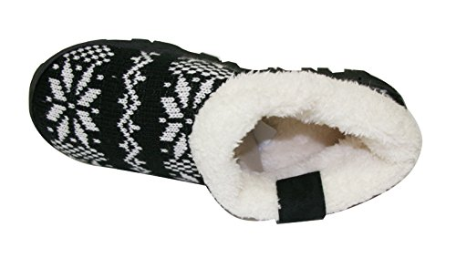 Lacci Delle Scarpe Sherpa Indoor Slip On Slippers Warm Bootie Shoes (sll) (sll-4131) -black