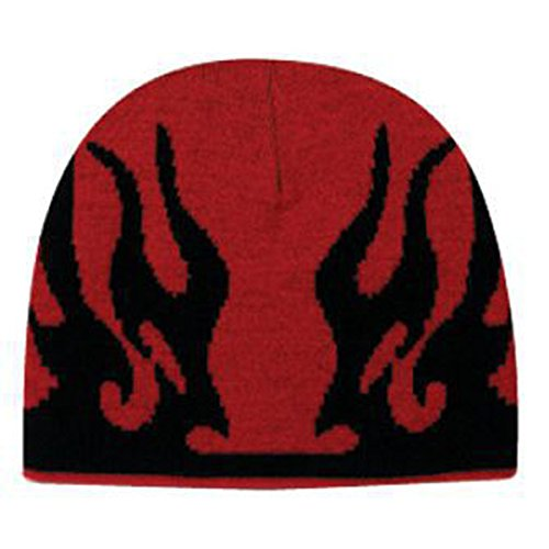 Product of Ottocap Flame Design Acrylic Knit 8 Beanie -Red/Blk [Wholesale Price on Bulk]