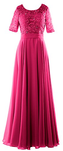 MACloth Elegant Half Sleeve Long Mother of Bride Dress Lace Formal Evening Gown Fuchsia