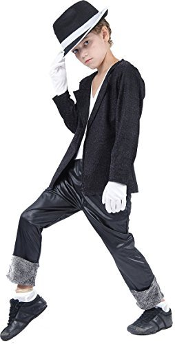 [Small Black Boys Superstar Jacket & Trousers] (Childrens Michael Jackson Costumes)