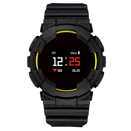 Ltrotted Smart Watch Sports Fitness Activity Heart Rate Tracker IP68 Waterproof Watch (Yellow)