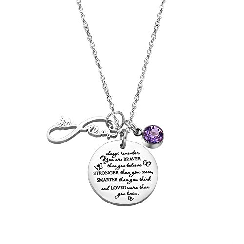 - Fullrainbow You are Braver Than You Believe Stainless Steel June Birthstone Necklace Gift for Girls