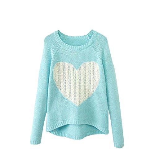Women O-neck Long Sleeve Loose Cardigan Knitted Sweater Jumper Knitwear Outwear (XL, Sky Blue)