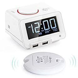 Homtime Loud Alarm Clock with Wireless Powerful Bed Shaker for Heavy Sleepers, USB Charging Ports, USB Speaker for iOS, Gesture-Controlled Nightlight, Featured with auto time sync with iOS-White