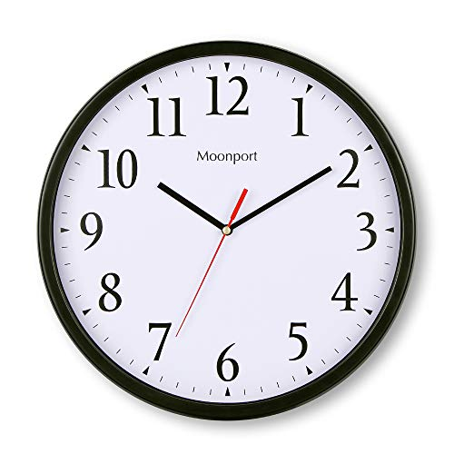 12 Inch Round Wall Clock ,Silent Non Ticking Quartz Sweep Battery Operated Clock decorative for Kitchen ,Living Room,Bathroom,Bedroom - Power Sweep Zoo