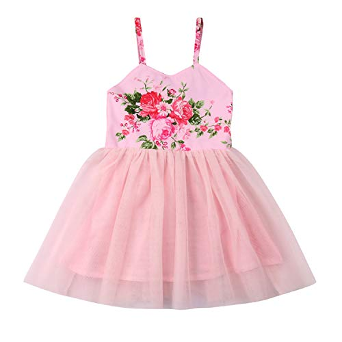 (Flower Girls Backless Floral Printed Pink Lace Tutu Dress Toddler Kids Princess Party Dresses Sundress (3T,)
