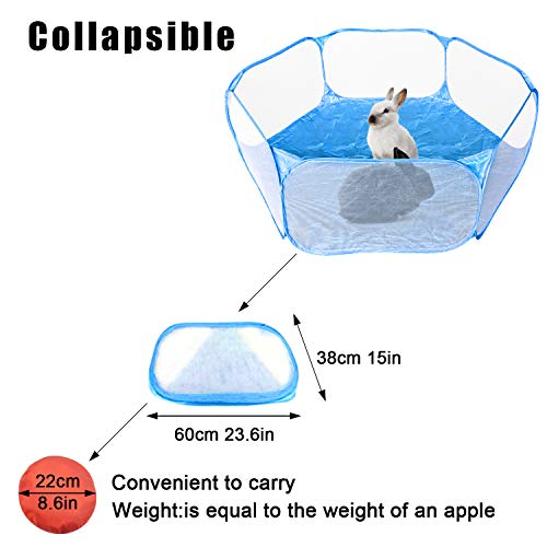 S-Mechanic Small Animals Playpen, Breathable Pop Pet Playpen Portable Outdoor/Indoor Exercise Fence for Hamster, Rabbits, Guinea Pig, Chinchillas, Hedgehogs, Puppy, Kitten (Blue)