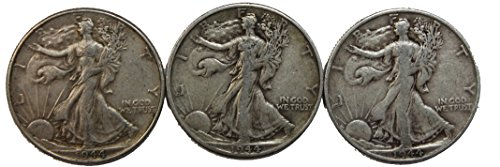 1944 P/S/D Walking Liberty Half Dollar Set 50c Very ()