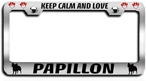 PAPILLON PAW LOVE HEART PET DOG METAL LICENSE PLATE FRAME TAG HOLDER