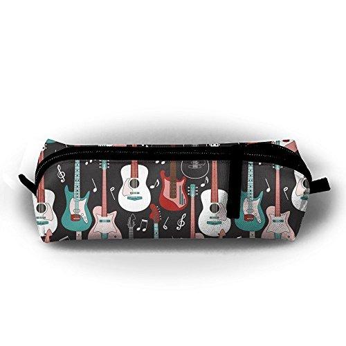 Rock And Roll Guitars Pencil Case Cosmetic Bag Coin Pen Holder Stationery Pouch Zipper Makeup (Rock Zipper)