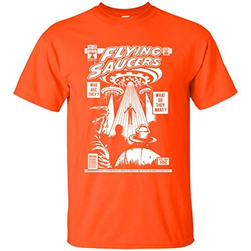 KID ANGELES Halloween Costume UFO Flying Saucers Comic Book Cover T-Shirt for Men Women Orange/XL