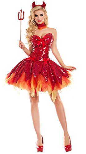 Party King Hellfire Darling Devil Costume, Sexy Hellfire Darling Devil Costume (Small)