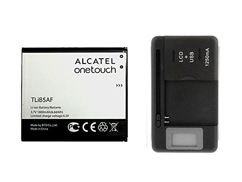 Genuine OEM Alcatel TLIB5AF 1800mAh 3.7V Battery for Alcatel One Touch 997, PopC5, X Pop, OT-5035 with LCD Uni-Charger