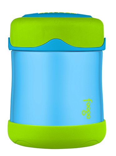 THERMOS FOOGO Vacuum Insulated Stainless Steel 10-Ounce Food Jar, Blue/Green by Thermos