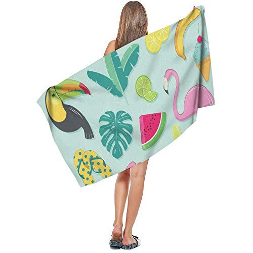 DSGFHDGAQ Summer-Beach-Party-with-Flamingo- Towel Bath Beach Cotton Casual Gym Soft Multipurposecool 31.5