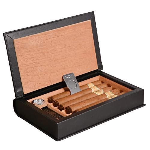 Volenx Cigar Humidor, Black Leather Travel Humidor Cedar Wood Box with Hygrometer & Humidifier Holds 5-10 Cigars