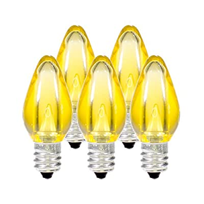 Holiday Lighting Outlet LED Smooth C7 Yellow Replacement Christmas Light Bulbs for E12 Sockets, Energy Efficient Commercial Grade, 2 Diode 0.58 Watt (LED) Bulbs. Pack of 25 Bulbs