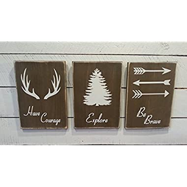 Woodland Nursery Décor - Rustic Décor - Have Courage - Explore - Be Brave- Farmhouse Wooden Signs for Childs Room Décor - Boys Room Decor