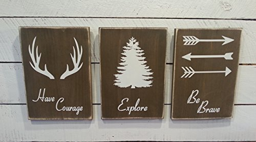 Woodland Nursery Décor – Rustic Décor – Have Courage – Explore – Be Brave- Farmhouse Wooden Signs for Childs Room Décor – Boys Room Decor For Sale
