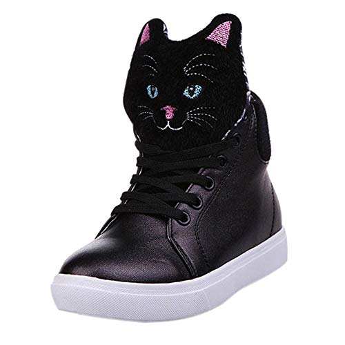 UOKNICE Autumn Cartoon Cat Head Flat Women Ankle Boots Casual Lace up Running Shoes Boots(Black, CN 40(US 7.5))