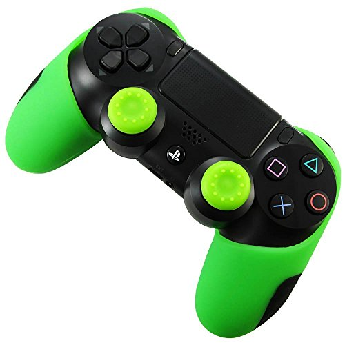 Pandaren Soft Silicone Thicker Half Skin Cover for PS4 /SLIM /PRO Controller Set (Green skin X 1 + Thumb Grip X 2) Review
