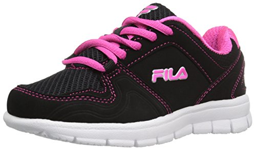 (Fila Girls' Speed Runner Skate Shoe, Black/Pink Glo/Metallic Silver, 1 M US Little Kid)