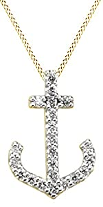Round Cut White Natural Diamond Anchor Pendant Necklace In 14k Yellow Gold