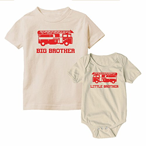 We Match! Big Brother & Little Brother Fire Truck Cotton T-Shirt & Bodysuit Set (Natural, 6M & (Natural Big Brother T-shirt)