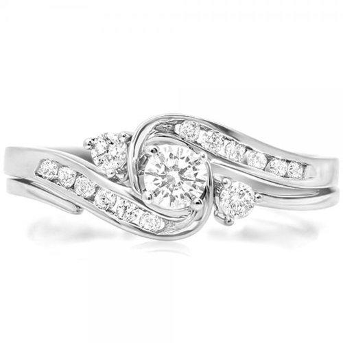 Dazzlingrock Collection 0.50 Carat (ctw) 14K Diamond Ladies Swirl Bridal Engagement Ring Set 1/2 CT, White Gold, Size 6.5