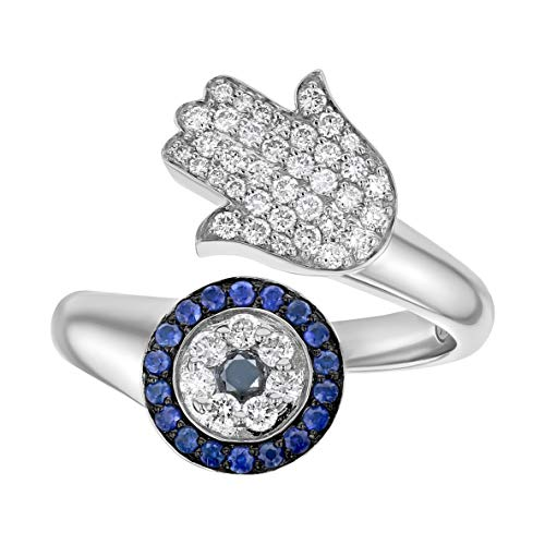 Olivia Paris 14k White Gold Diamond and Blue Sapphire Hamsa Bypass Cocktail Ring (3/8 cttw, H-I, I1) Size 7