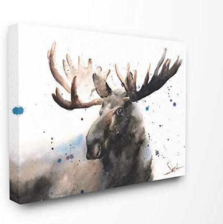 Stupell Industries Majestic Moose Watercolor Painting with Blue Splatter Canvas Wall Art, 24 x 30, Multi-Color