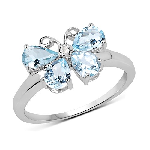 1.03 Carat Genuine Aquamarine and White Topaz Solid .925 Sterling Silver Butterfly Ring