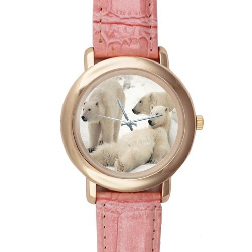 Gifts for Girls/Ladies Polar Bears Pink Leather Alloy Watch