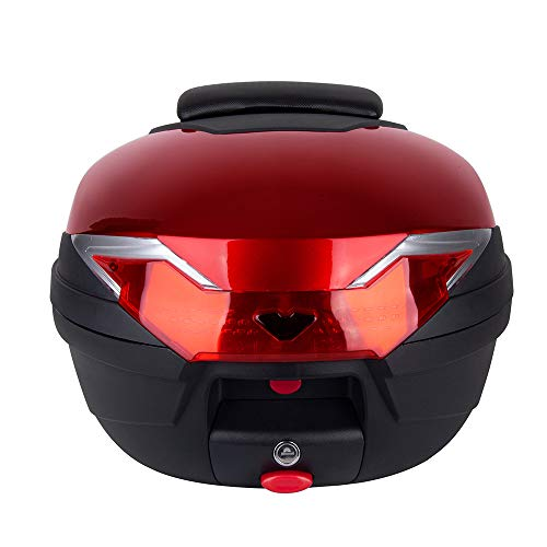 - Comie Motorcycle Tour Tail Box Scooter Trunk Luggage Top Lock Storage Carrier Case with soft backrest and Quick-release System - 32L Capacity - Can Store (1) Full Helmet (Red)