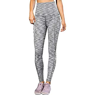 LEICHR Women's High-Waisted Leggings, Soft Yoga Pants with Pockets, Non-See Through 4-Way Stretch Comfort Workout Gym Leggings【Space Gray】