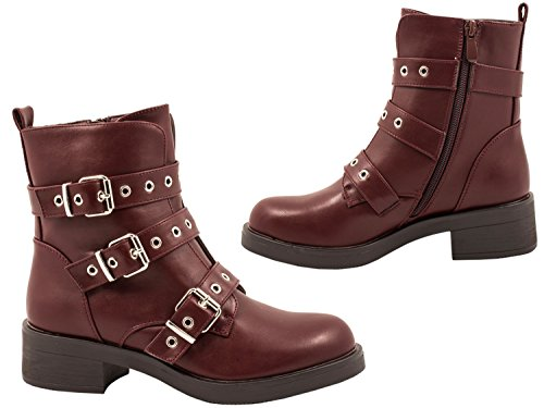 Elara Women's Biker Boots Wine Red k5QoJ
