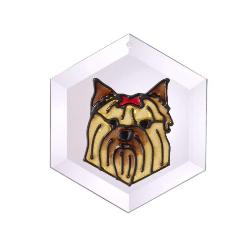 (Yorkshire Terrier Painted Glass Suncatcher (Ew-203))