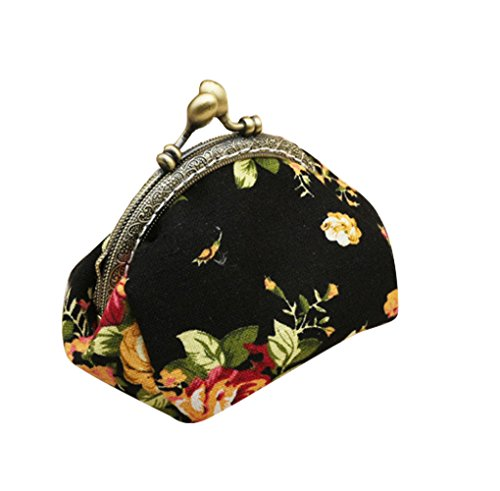 casuale signore tasca HeySun Girls Floral Lock per Portafoglio nero le cambia Kiss sottile borsa W6RTzHWq